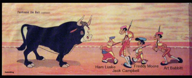 Ever the puckish trickster, Ward Kimball caricatured himself and his fellow animator as the parade of bullfighters in the 1938 Oscar-winning short, Ferdinand the Bull. This bit of animation is worth re-watching (aw hell, the whole short is worth re-watching) – Kimball's animation is a window into his coworkers: Freddy Moore is toddling like a carefree child; Tytla, a true equestrian, is confidently atop his steed; and Babbitt is strutting defiantly, almost like he owns the place!