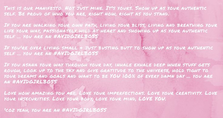 #avidgirlboss #manifesto