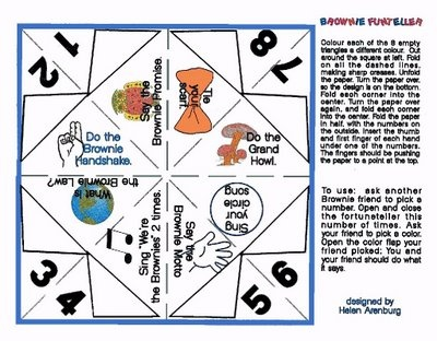 For Thinking Day (international friendship way) Canadian Brownie fortune teller