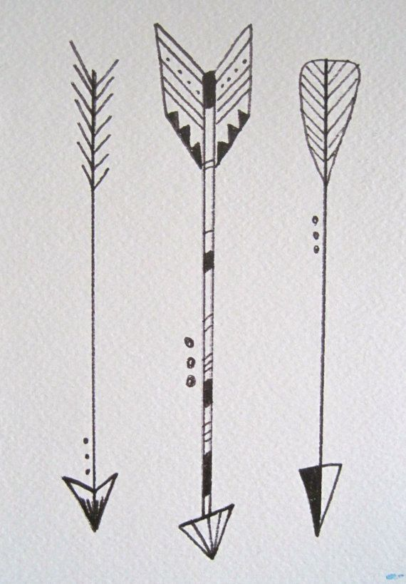 """Three Little Arrows in Black and White, 5""""x7"""". Watercolor Illustration Pen on Watercolor Paper. www.etsy.com/shop/kateykpaintandclay"""