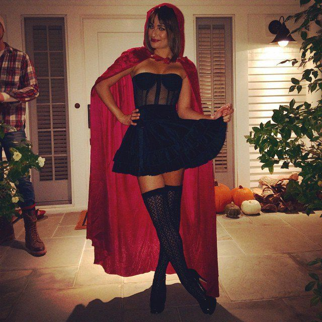 Pin for Later: Throwback Thursday: Celebrity Halloween Costume Edition Lea Michele Lea Michele went for a sexy Little Red Riding Hood look in 2014.