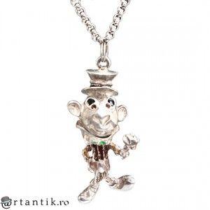 colier cu inedit pandant Jiminy Cricket - argint emailat - Italia