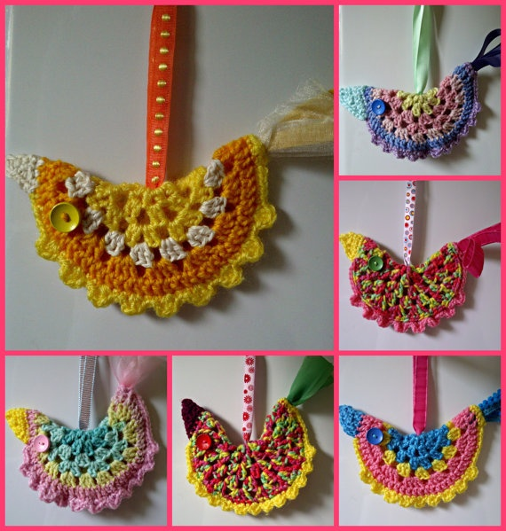 Crochet spring bird hanging decoration via Etsy
