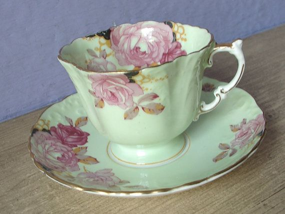 Antique 1930's Aynsley pink rose tea cup pale by ShoponSherman. Pastel mint green.