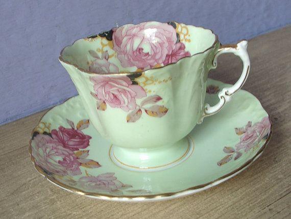 Antique 1930's Aynsley pink rose tea cup pale ♡ by ShoponSherman. Pastel mint green.