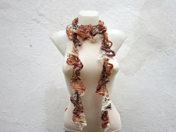 Handmade Crochet Cream Brown  Scarf  Fall Fashion by scarfnurlu