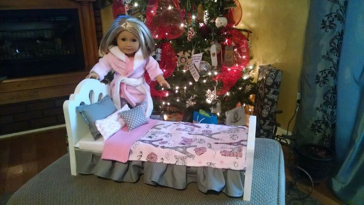 """18"""" Doll bed. Made the bed and bedding"""