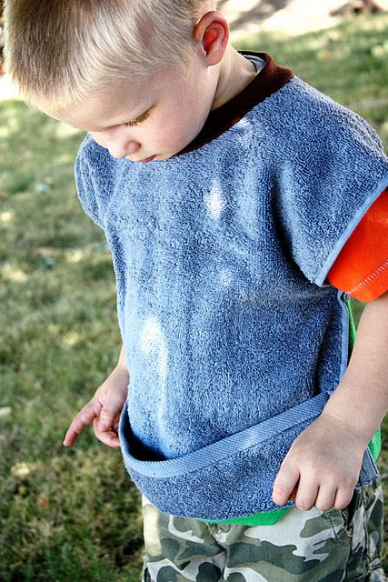 No Velcro Bib.  My Mom used to make these and they wash up great!