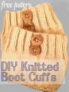 Simple knitted boot cuffs