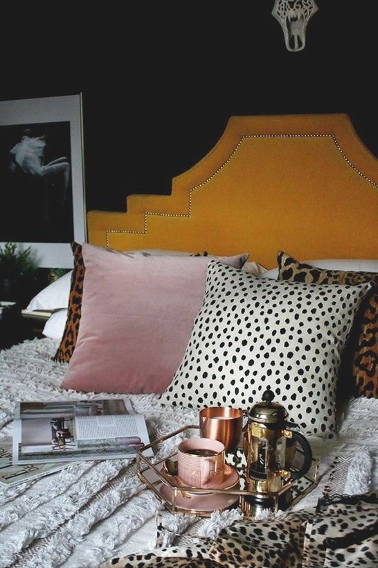 boho glam bedroom in black yellow and blush pink #modernBedrooms ...