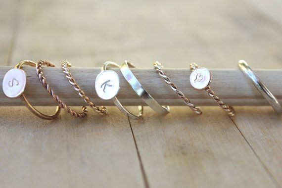Initial rings, Gold twist rings, rose gold heart ring, stacking, DELUXE YOU PICK own set, customize your style