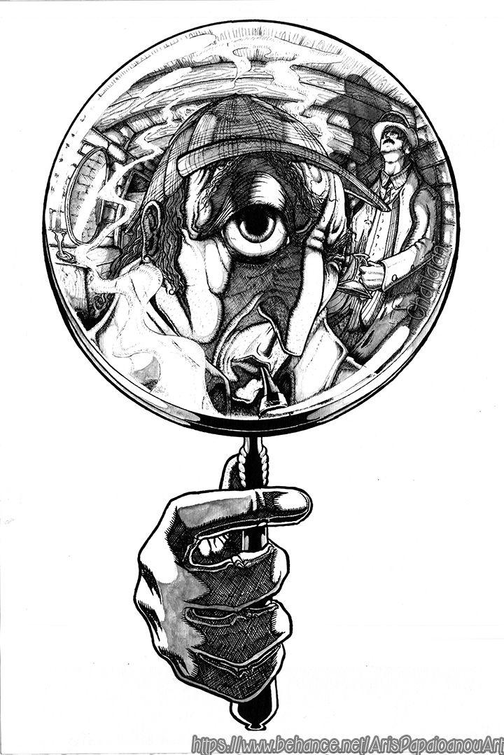 Sherlock Holmes ( Fish-Eye Sketch with Pen ) )