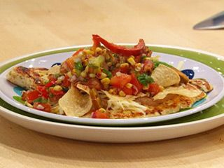 "Yum!  The bean dip alone looks good. Chicken ""tostado"" from Rachael Ray: Chicken Tostadas, Breast Tostadas, Chicken Tostado, Ray Chicken, Beans Dips, Yummy Food Drinks Snacks, Yummy Chicken, Healthy Chicken, Chicken Not"