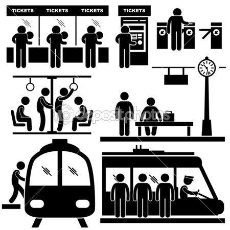 un conjunto de pictogramas que representan en la estación de tren y del metro