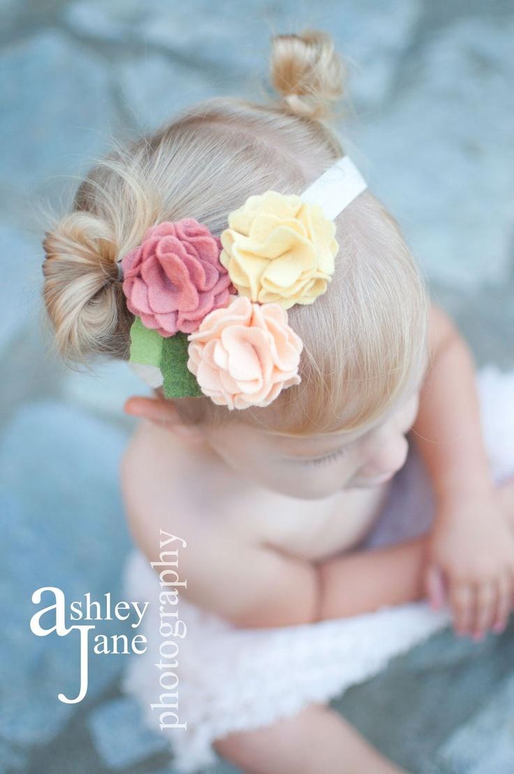 Baby Headband Felt Flower Headband Addison-Butter, Grapefruit, Peach-U Pick Headband, or Hair Clip, or Brooch