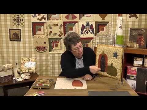 How to applique a Halloween Pumpkin- Block 8- Jan Patek's mini quilt Block of the Month - YouTube