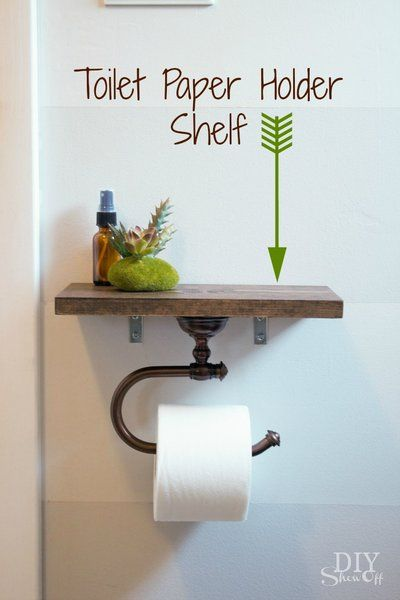 DIY Toilet Paper Holder with Shelf tutorial @diyshowoff. Maybe it will stop pulling out of the wall this way.