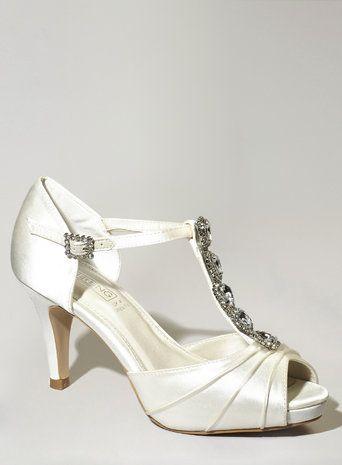 Ivory Fashion Wide Fit Daniella Jewel Court Shoes Bhs WeddingWedding