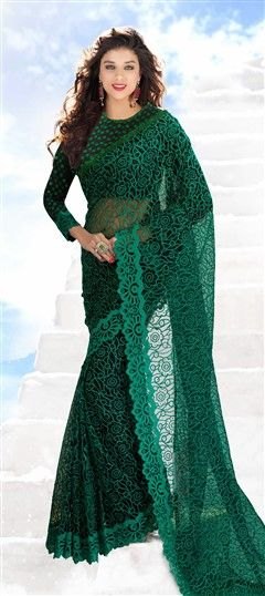 159913, Party Wear Sarees, Embroidered Sarees, Net, Resham, Stone, Green Color Family
