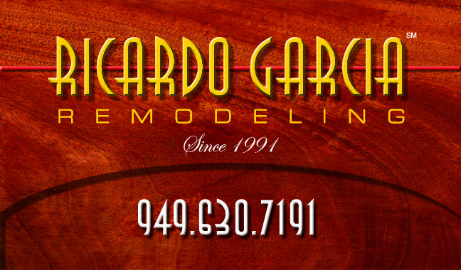Designed this logo and business card in mahogany for remodeler, Ricardo Garcia.
