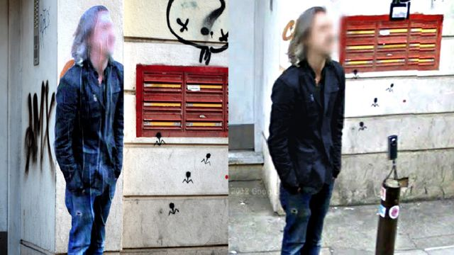 Artist Creates Life-Size Street Art Posters Of The Glitchy Inhabitants Of Google Street View | The Creators Project - virtual becomes real becomes virtual becomes real