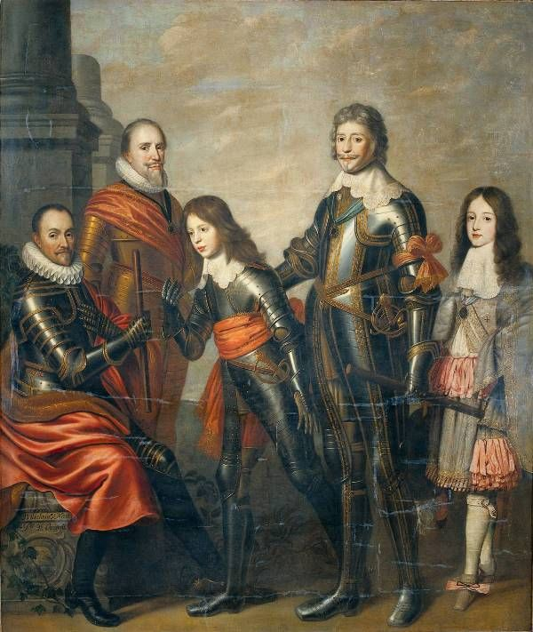 Four generations Princes of Orange - William I, Maurice and Frederick Henry, William II, William III (Willem van Honthorst, 1662)