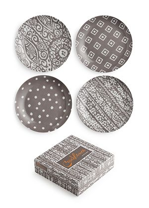 Rosanna Casablanca Set of 4 Assorted Plates.  Showcase a hearty fall meal or harvest celebration with the soulful Moroccan woodblock prints of Casablanca.    Set of 4 assorted coupes in a gift box, 16cm Made of Porcelain Dishwasher and microwave safe.