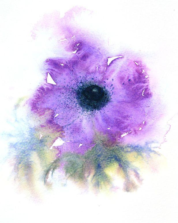 "Saatchi Online Artist: Jacki Stokes; Watercolor, Painting ""Anemone"""