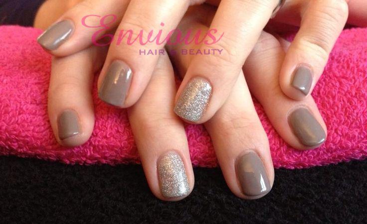 Gellux Wild Mink & Silver Glitter Manicure