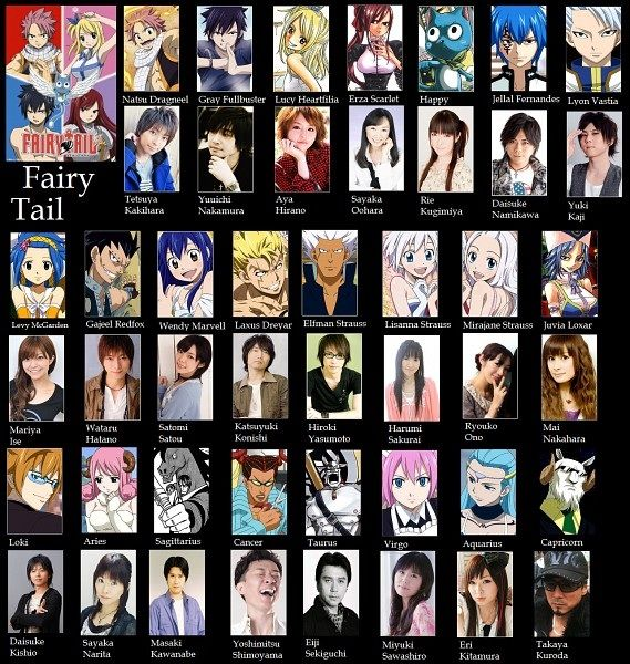 Fairy tail voice actors.... Lucy, Juvia, Mirajane, Virgo, Aries, Aquarius