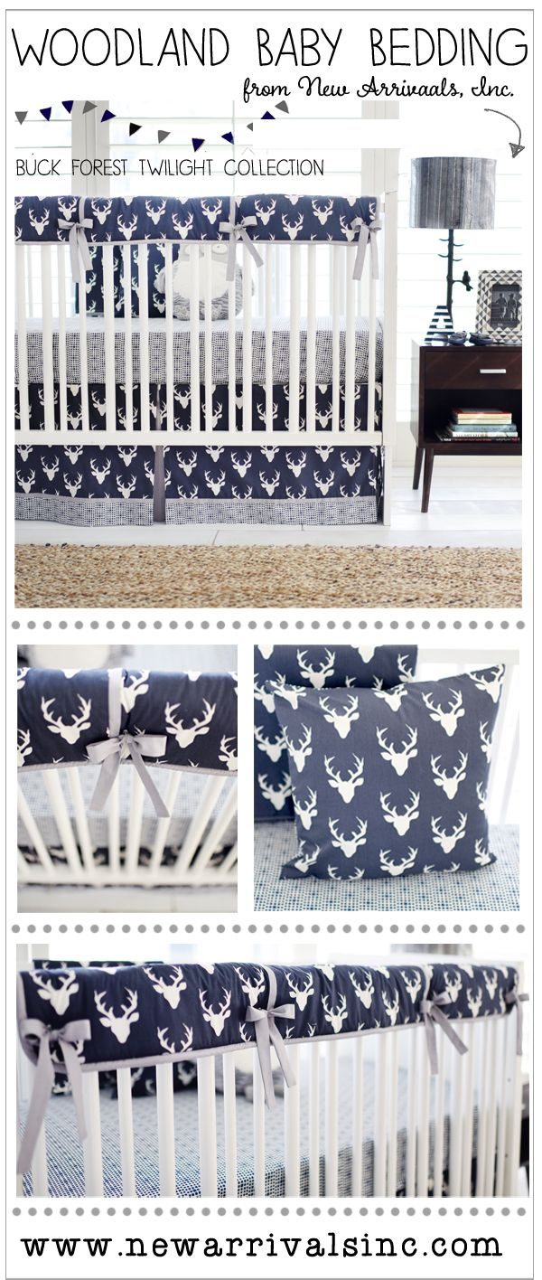 Crib bedding set gray white navy blue with by butterbeansboutique - Navy Boy Woodland Deer Crib Bedding Set Buck Forest In Twilight Deer Crib Rail Guard Bedding Collection