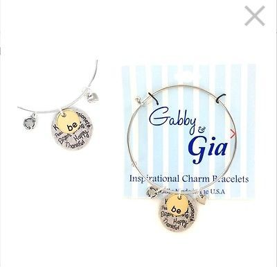 2 Pack Gabby and Gia Gift Inspirational Charm Adjustable Bracelet Just Be