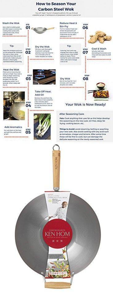 """KEN HOM Carbon Steel Wok - Asian Stir Fry Pan with Helper Handle - 13.75"""", Silver"""