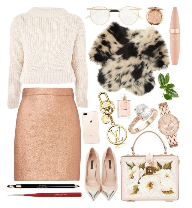 Christmas shopping by natallie on Polyvore featuring polyvore, fashion, style, Topshop, Carven, Louis Vuitton, Dolce&Gabbana, Saks Fifth Avenue, Shrimps, Gucci, Maybelline, Clarins, Chanel and clothing