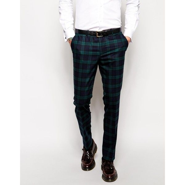 Noose & Monkey Tartan Trousers With Stretch In Super Skinny Fit (98260 IQD) ❤ liked on Polyvore featuring men's fashion, men's clothing, men's pants, men's dress pants, green, mens plaid pants, mens plaid skinny pants, tall mens pants, mens skinny pants and mens tartan pants