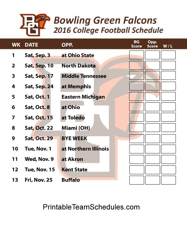 Bowling Green Falcons  College Football Schedule Print Here