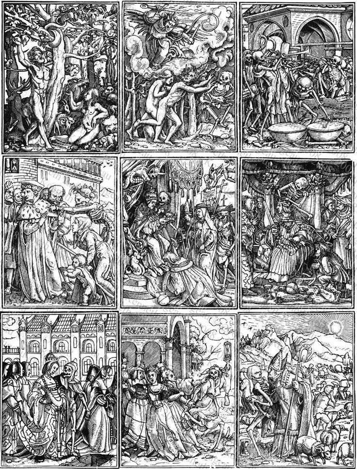 Dance of Death created by Hans Holbein the Younger and first published in 1538.