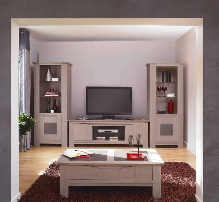 Séjour Bali / Bora - Composable avec le meuble TV et deux vitrine porte vitrée et bois avec incrustation céramique.