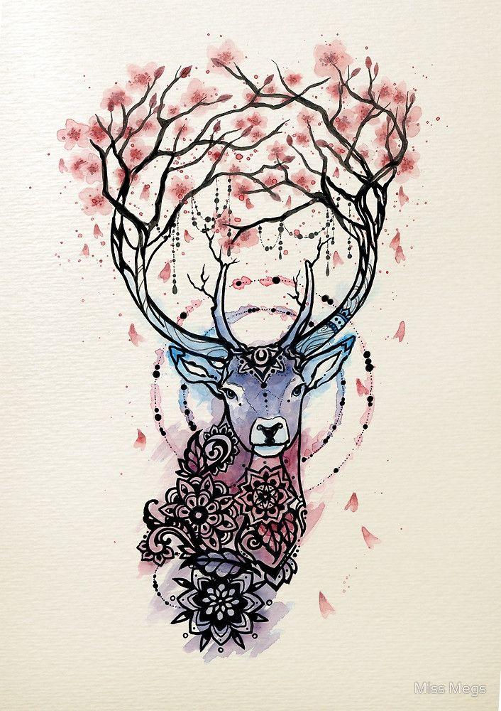 """Watercolor Sakura Deer"" by Miss Megs | Redbubble"