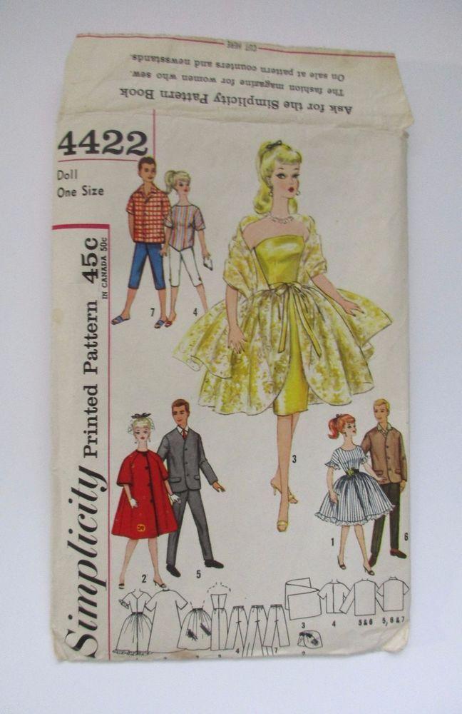 Barbie Ken 60s Vintage Fashion Doll Clothes Pattern Babette Mitzi
