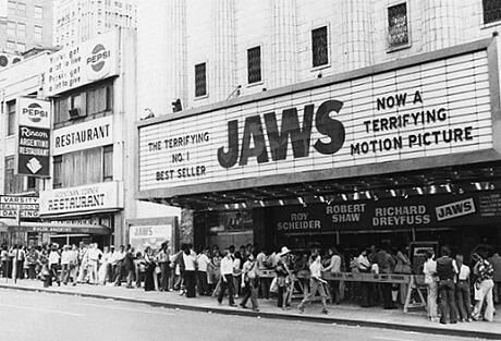 "Jaws premier in 1975...obviously I don't actually ""remember"" this at a theater but this movie was a huge part of my childhood! Also...1975 was an awesome year! Haha"