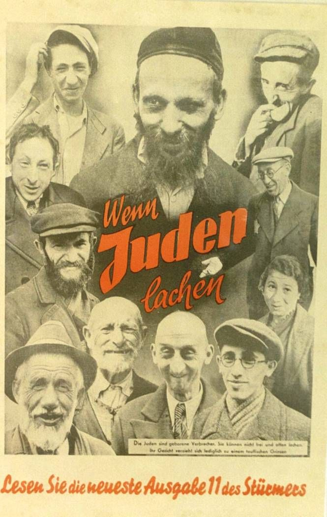 "A poster printed by Der Strumer, a publication within Germany of anti-semitic materials. Julius Streicher founded and edited the most rabidly anti-semitic of Nazi publications within Nazi Germany. Der Sturmer specialized in anti-Semitic cartoons, and originated the slogan in 1923 that the ""Jews are our misfortune."" This poster was designed to dehumanize the Jews who were posed in distorted, humiliating and disgusting positions. uman and pure and not as good as the German people."