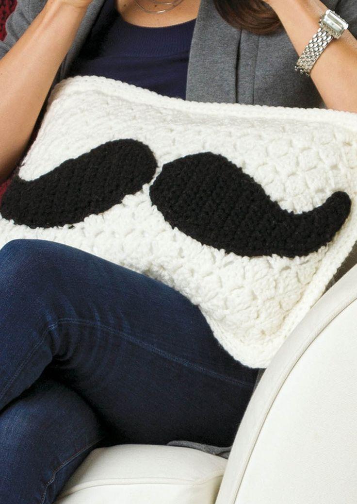 DIY Mustache Pillow | Crochet crafts for fall!