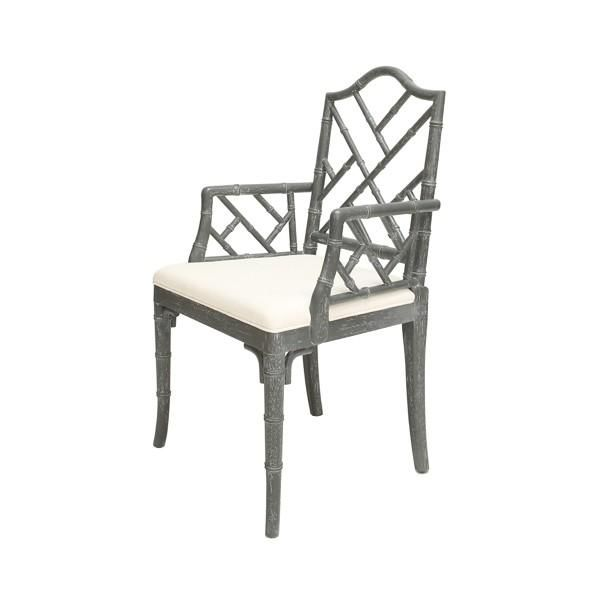 The Bristol Chair in Grey Cerused Oak from Worlds Away features a classic Chippendale shape that looks instantly stylish. The Bristol offers an upholstered cus