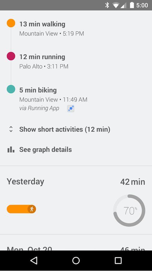 timeline on Google Fit