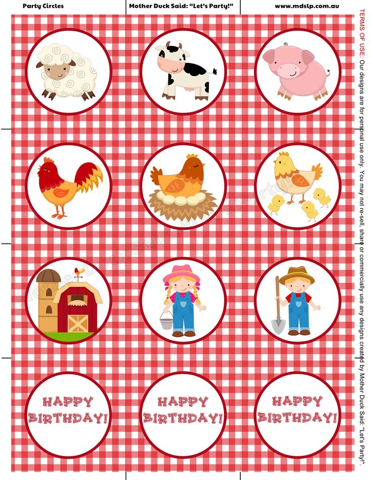 "Barnyard Party Cupcake Toppers / Party Circles    Mother Duck Said: ""Lets Party!"": Barnyard Birthday Party Farm Birthday Party"