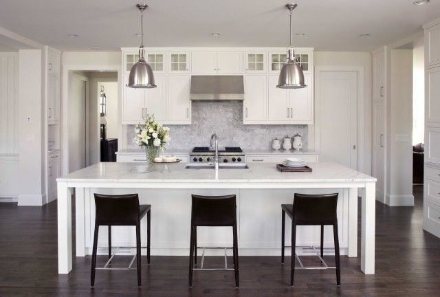 carrara marble mosaic wall with dark cabinets | - kitchens - Restoration Hardware Benson Pendant, white cabinets ...