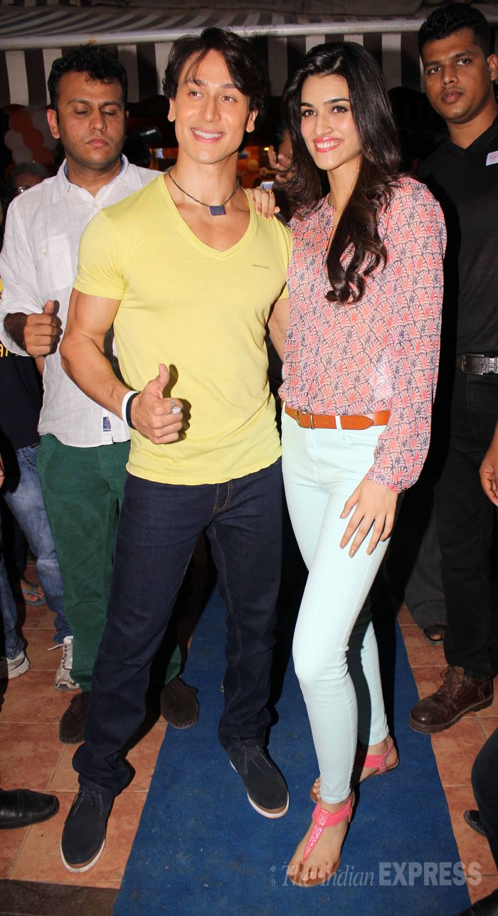 Tiger Shroff smiles for a picture along with his co-star Kriti Sanon while promoting 'Heropanti' #Style #Bollywood #Fashion #Beauty