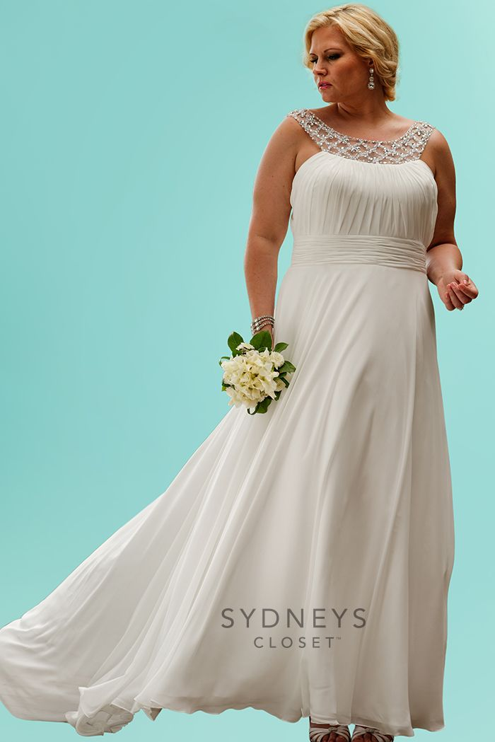 The look of love is in your eyes! You'll be simply stunning in this simple but elegant chiffon #wedding #dress. We love the beaded band at the neck and flowing skirt. #PlusSize https://www.sydneyscloset.com/sydneys-closet/5058/