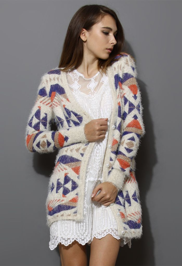 Fluffy Aztec Cardigan - New Arrivals - Retro, Indie and Unique Fashion